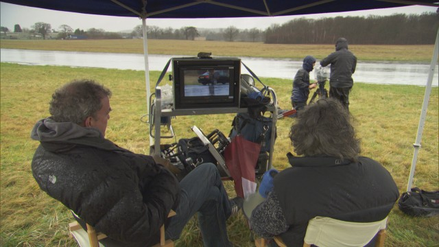 Jeremy Clarkson and James May producing their own Public Information Film at the Top Gear Test Track