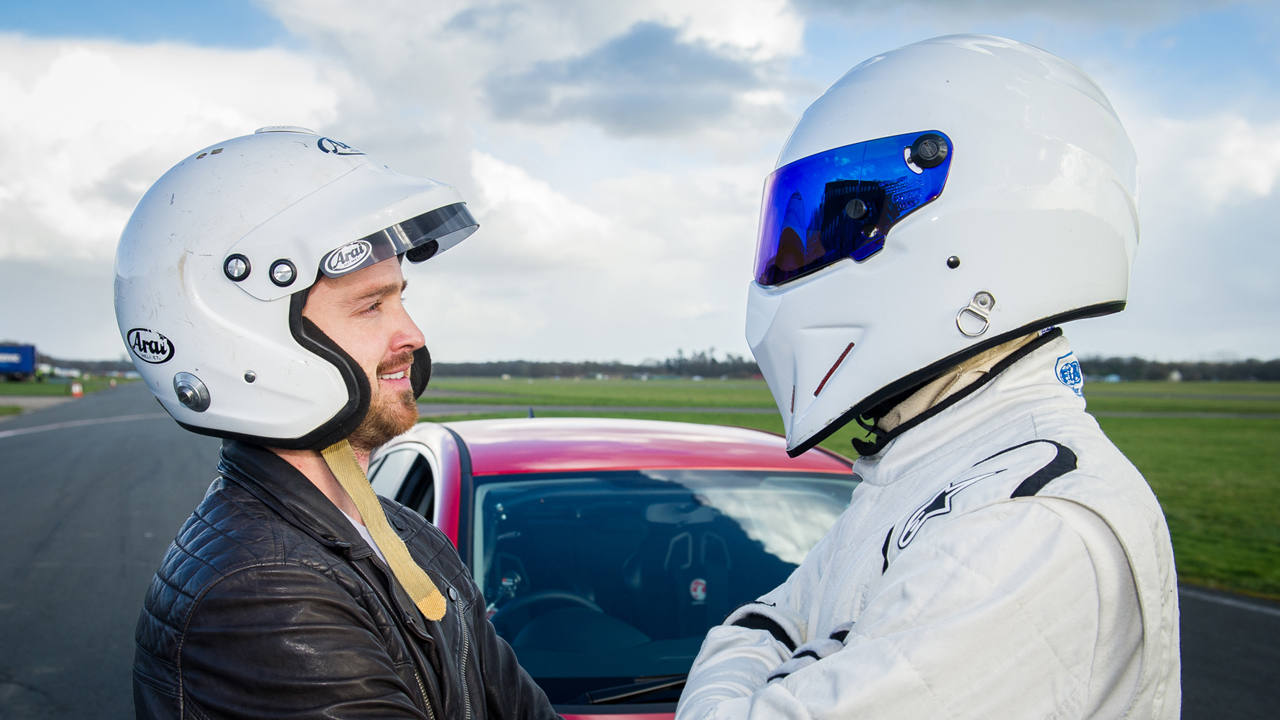 Aaron Paul (Star in the Reasonably Priced Car) and The Stig