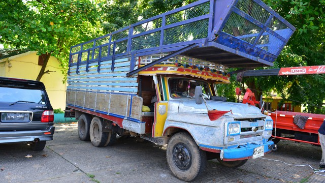 Richard Hammond's Isuzu 'long nose' lorry in Yangon, Burma