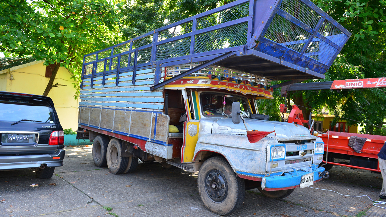 Richard Hammond's Isuzu 'long nose' lorry in Yangon, Burma