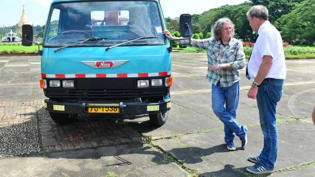 James May and Jeremy Clarkson with James' Hino FD166B lorry in Yangon, Burma