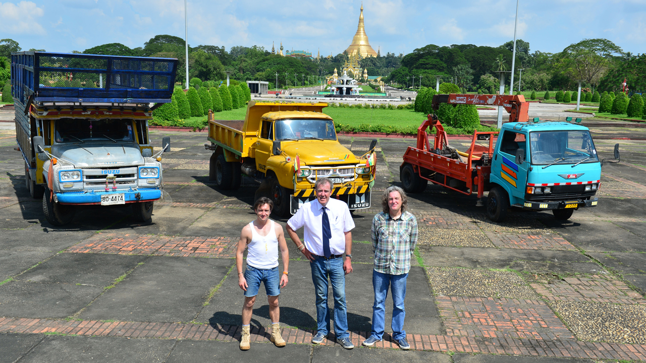 Richard Hammond, Jeremy Clarkson and James May with their lorries in Yangon, Burma