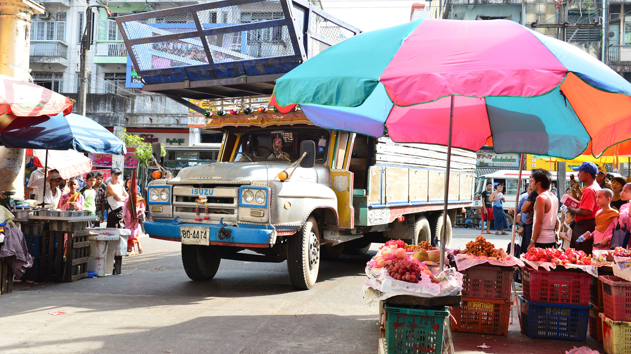 Richard Hammond driving his Isuzu 'long nose' lorry through the streets of Yangon in Burma
