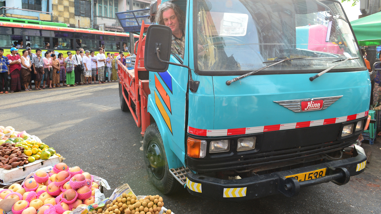 James May driving his Hino FD166B lorry through the streets of Yangon in Burma