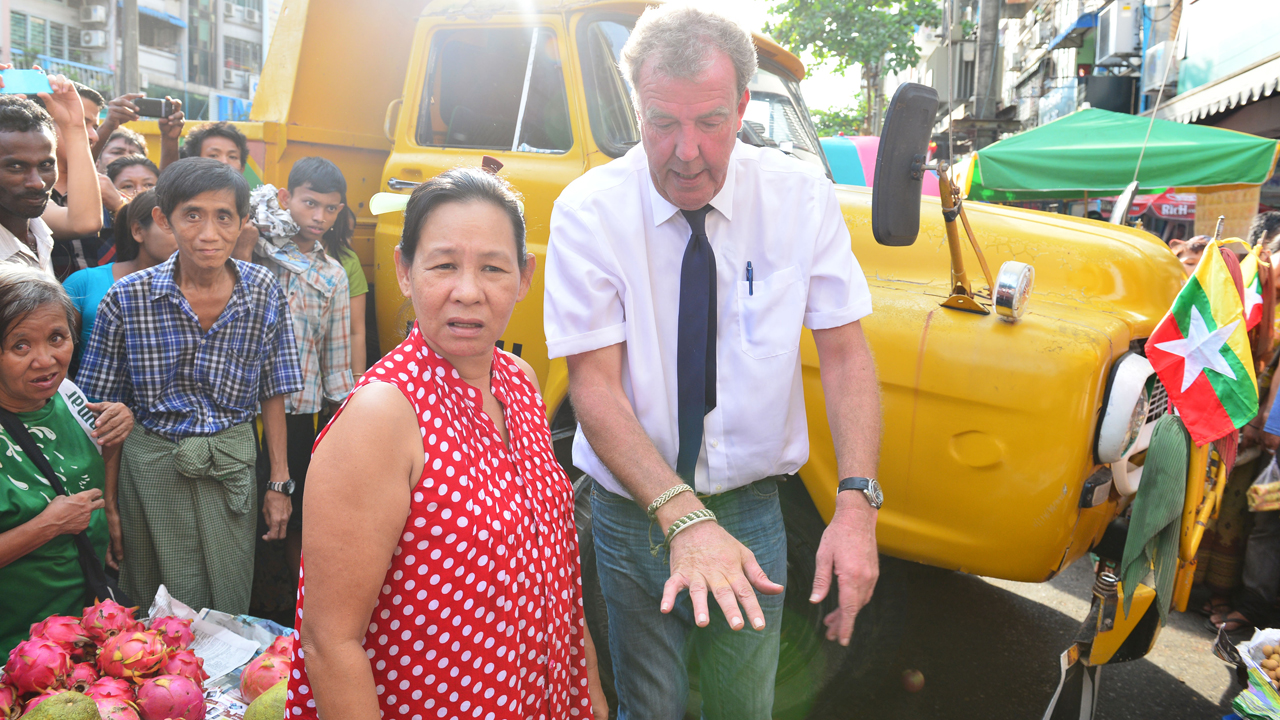 Jeremy Clarkson with a local in the streets of Yangon, Burma