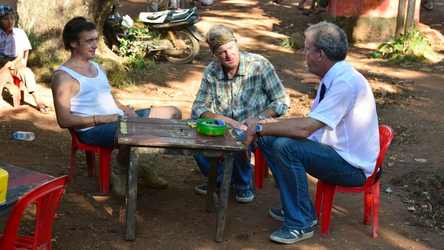 Jeremy Clarkson, James May and Richard Hammond have a pit stop whilst heading north through Burma