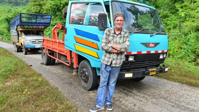 James May with his and Richard's lorries, heading north through Burma