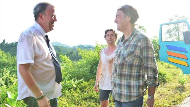 Jeremy Clarkson, James May and Richard Hammond heading north through Burma