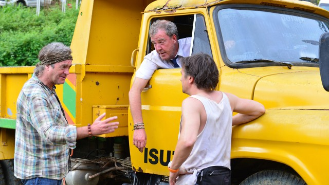 Jeremy Clarkson, James May and Richard Hammond with Jeremy's lorry in Burma