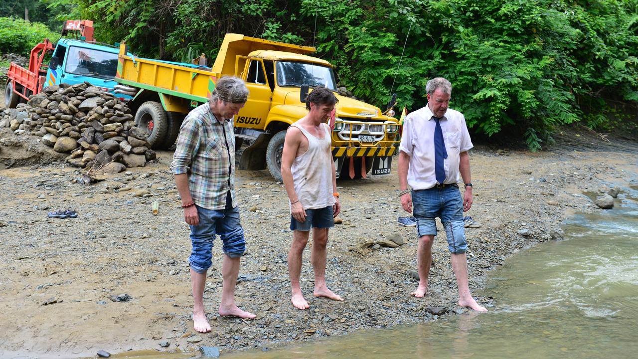 Jeremy Clarkson, James May and Richard Hammond heading north through Burma
