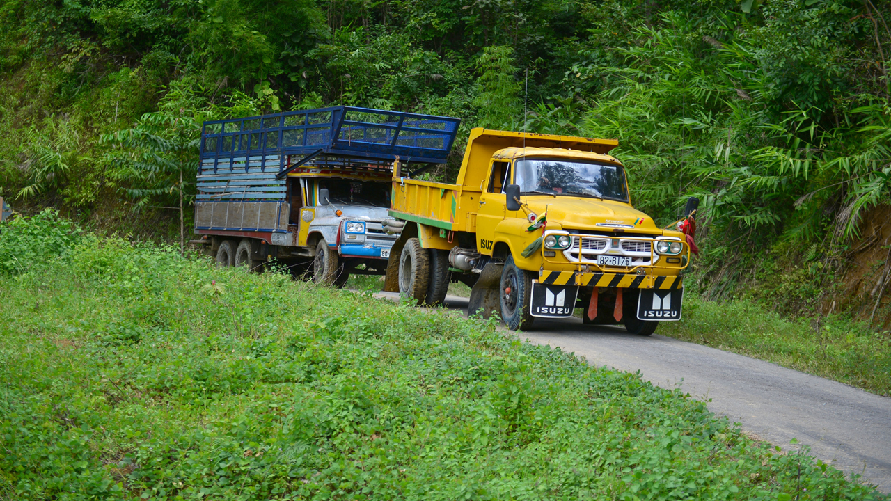 Jeremy Clarkson and Richard Hammond heading north through Burma in their lorries