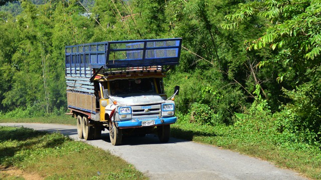 Richard Hammond heading north through Burma in his Isuzu 'long nose' lorry