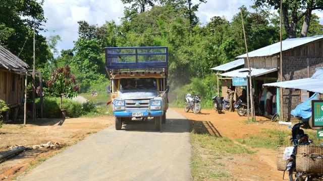 Richard Hammond heading north through Burma in his Isuzu 'long nose' lorry