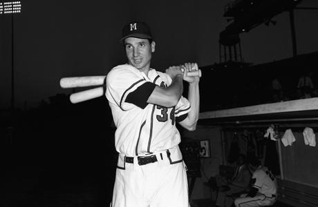 Bobby Thomson as a Milwaukee Brave in 1954. (Photo: AP)