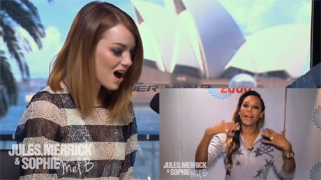 "Emma Stone getting a message from Mel. B on ""Australia 2Day"" (YouTube)"