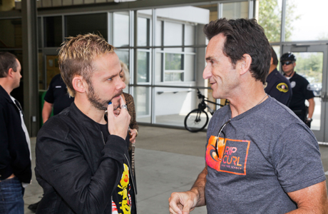 Dominic Monaghan shares a few words with fellow adventurer Jeff Probst of 'Survivor' fame. (Photo: Ben Horton/Getty Images for BBC AMERICA)