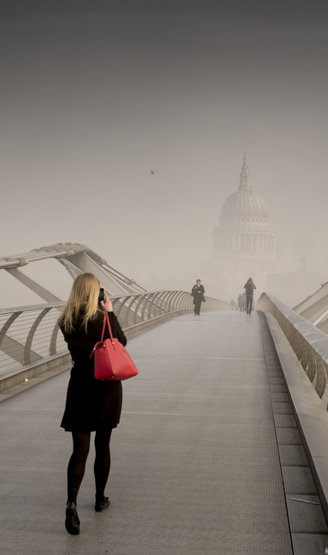 Heavy Fog over the Millenium Bridge, River Thames Fog in London, Britain - 13 Mar 2014  (Rex Features via AP