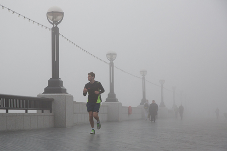 Fog surrounds Thames path near Tower Bridge Fog in London, Britain - 13 Mar 2014  (Rex Features via AP Images)