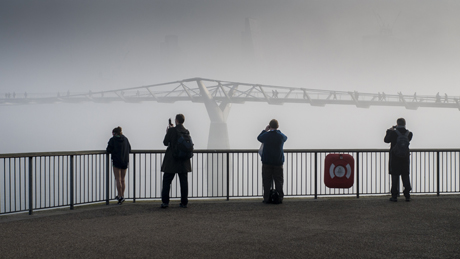 Heavy Fog over the Millenium Bridge, River Thames Fog in London, Britain - 13 Mar 2014  (Rex Features via AP Images)