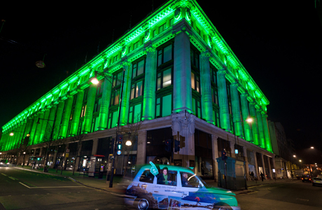 St Patrick's Day. EMBARGOED TO 0001 SATURDAY MARCH 17. Selfridges in London is lit up green to mark St PatrickÕs Day by Tourism Ireland. Issue date: Saturday March 17, 2012. Tourism Ireland has lit up Selfridges in both London and Birmingham, the London Eye, the Glasgow Eye, The Armadillo in Glasgow, the Hub and the Camera Obscura in Edinburgh to mark the festivities on March 17th. Photo credit should read: Anthony Upton/PA Wire URN:13065850