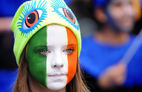 St Patrick's Day. A girl with a painted face takes part in the St Patrick's Day celebrations in central London. Picture date: Sunday March 18, 2012. This year's parade took place on the day after St Patrick's Day. Photo credit should read: Dominic Lipinski/PA Wire URN:13085810