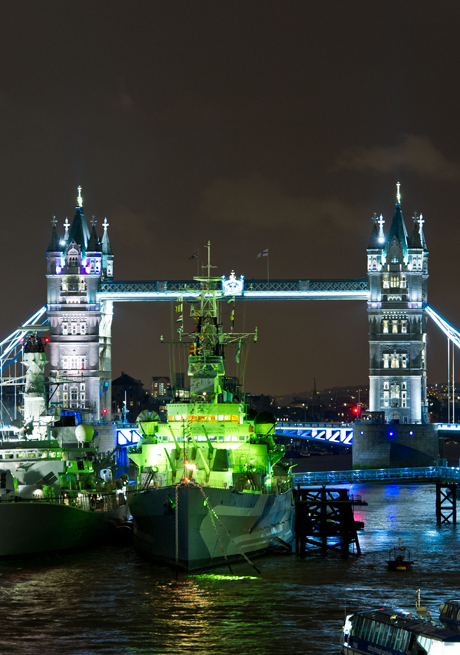 St. Patrick's day celebrations. EDITORIAL USE ONLY: HMS Belfast is lit green for Tourism Ireland's St. Patrick's Day celebrations and to mark the ship's 75th anniversary in London. Picture date: Friday March 15, 2013. Photo credit should read: Matt Crossick/PA Wire URN:16063943