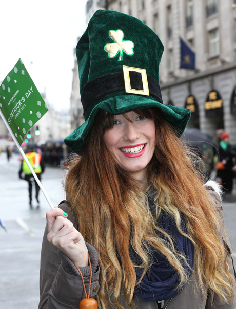 Tahlia Mayer from Melbourne, Australia enjoys the St.Patrick's Day Parade St Patrick's Day Celebrations, London, Britain - 17 Mar 2013  (Rex Features via AP Images)