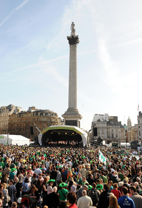 St. Patrick's Day Celebrations - London.The crowd in Trafalgar Square during the St. Patrick's Day celebrations in London. Picture date: Sunday March 15, 2009. Photo credit should read: Zak Hussein/PA Wire URN:7006132