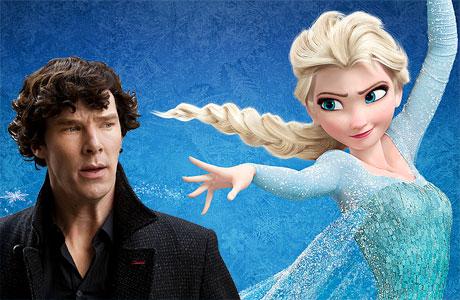 Benedict Cumberbatch and Princess Elsa from 'Frozen' (Pic: BBC and Disney)