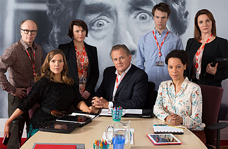 Jessica Hynes, Hugh Bonneville and co in 'W1A' (Pic: BBC)