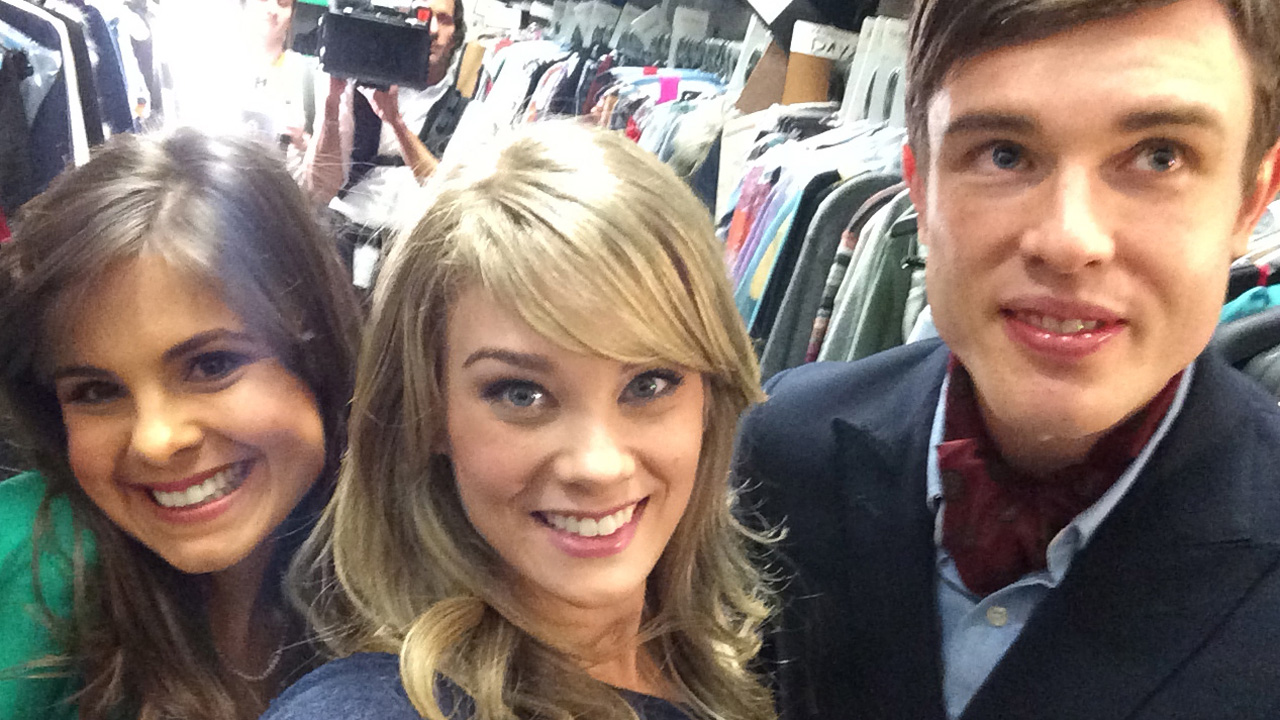 P&G hanging out with cast member Kim Matula from The Bold and the Beautiful