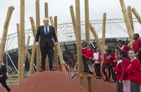 Boris Johnson and local school children from Gainsborough Primary school in Newham at the new Queen Elizabeth Olympic Park. Prince Harry and Boris Johnson visit the new Queen Elizabeth Olympic Park, London, Britain - 04 Apr 2014  (Rex Features via AP Images)
