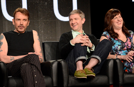 "From left, cast members Billy Bob Thornton, Martin Freeman and Allison Tolman participate in the ""Fargo"" panel at the FX Winter TCA Press Tour, on Tuesday, January 14, 2014 at the Langham Huntington, in Pasadena, Calif. (Photo by Phil McCarten/Invision for"