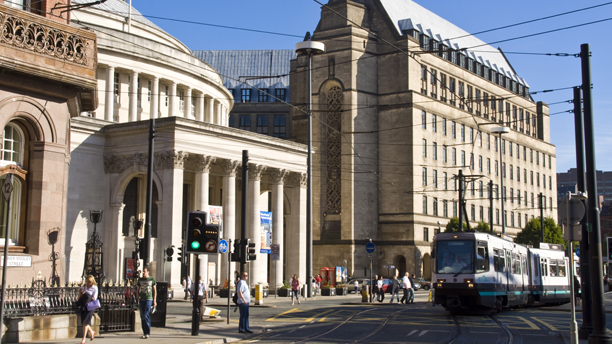 Central Library and tram, Manchester, England, United Kingdom ... (Charles Bowman/Robert Harding/AP)