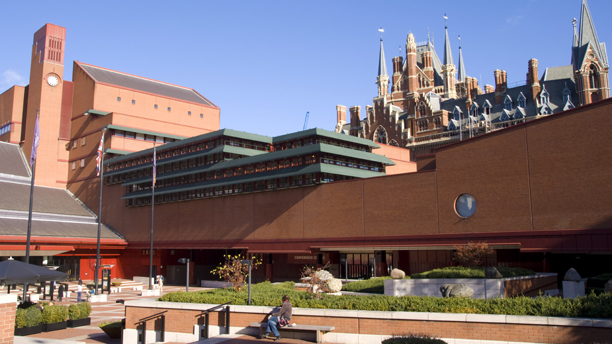 British Library and St. Pancras station beyond, London, England,