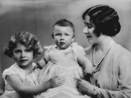 A photo dated circa 1931 of Britain's Princess Margaret, center, with her older sister, Princess Elizabeth and their mother, Queen Elizabeth. (AP Photo/Marcus Adams/Royal Collection)