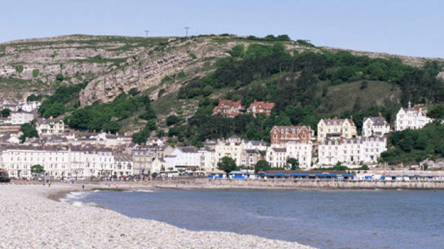 Beach and Great Orme, Llandudno, Conwy, Wales, United Kingdom, E