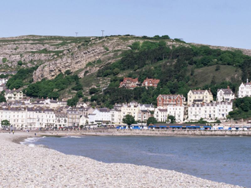 Beach and Great Orme, Llandudno, Conwy, Wales, United Kingdom, E