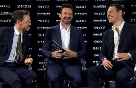 James McAvoy, Hugh Jackman and Michael Fassbender sit down for a catch up. (Yahoo!)