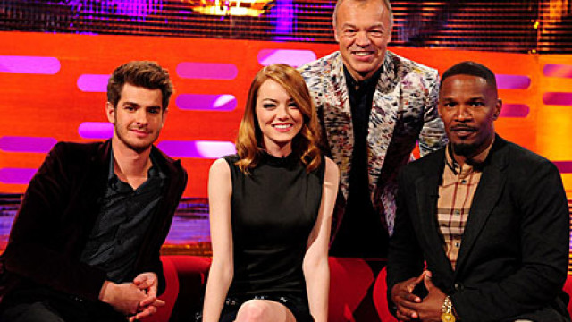 Andrew Garfield, Emma Stone and Jamie Foxx with Graham Norton