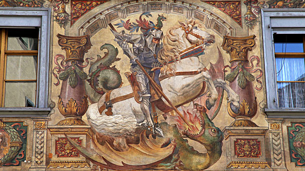 A fresco of St. George slaying the dragon (Pic: AP Images)