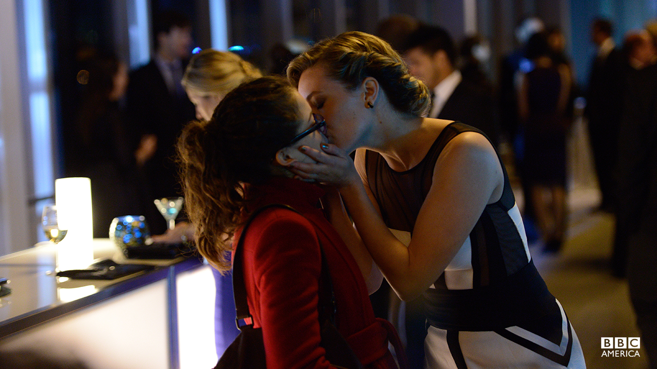 """You're not Cosima."" - Delphine CormierSarah does her best Cosima (hand talking, heavy eyeliner, faux-dreads), but science girlfriend Delphine isn't fooled. They kiss, and Delphine calls her out."