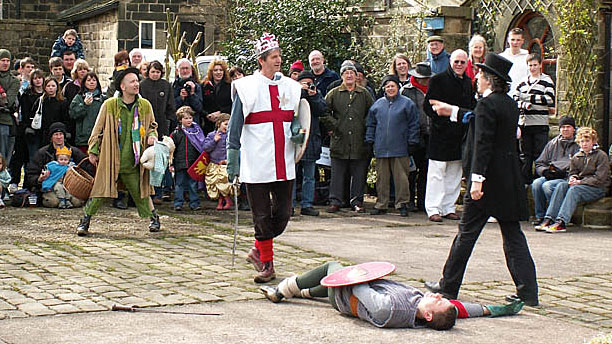St. George slays Bold Slasher at Heptonstall Pace Egg Play (Pic: Phil Champion via Wikipedia)