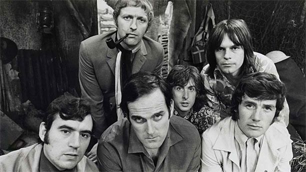 The 'Monty Python' gang in 1969 (l-r: Terry Jones, Graham Chapman, John Cleese, Eric Idle, Terry Gilliam, Michael Palin. Pic: BBC)