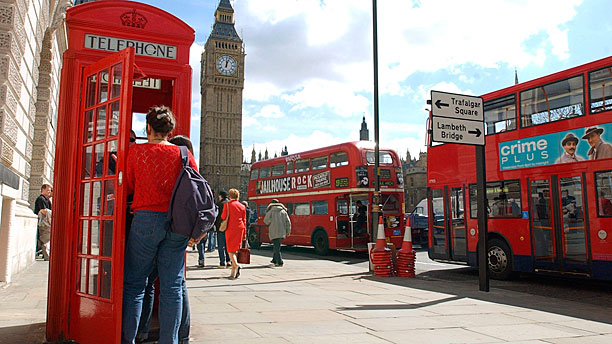 The K2 red phone box in action in London (AP Photo/Richard Lewis)