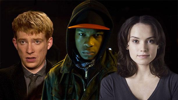 L-R: Domhnall Gleeson, John Boyega and Daisy Ridley