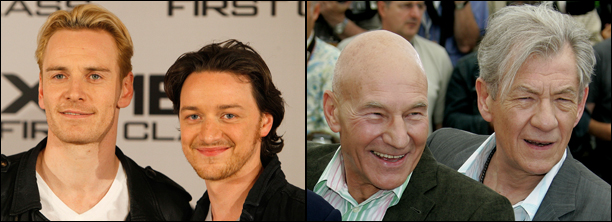 Michael Fassbender and James McAvoy. Sir Patrick Stewart and Sir Ian McKellen. (Photos: AP)
