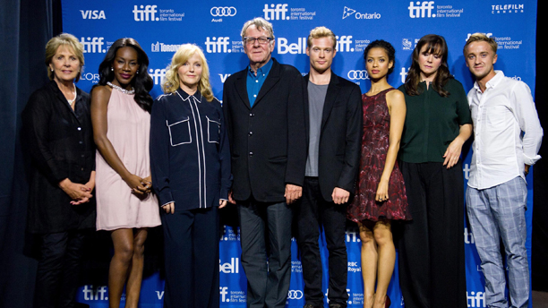 "The cast and crew of ""Belle,"" from left, actress Penelope Wilton, director Amma Asante, actors Miranda Richardson, Tom Wilkinson, Sam Reid, Gugu Mbatha-Raw, Emily Watson and Tom Felton. (Photo: AP/The Canadian Press, Galit Rodan)"
