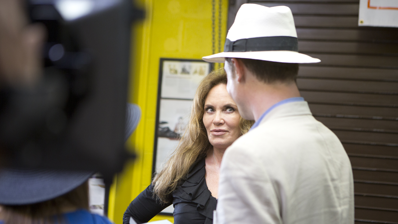 Behind the scenes as George Carlton meets Dukes Of Hazard actress Catherine Bach.