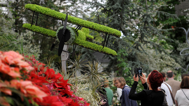 Chelsea Flower Show 2014. General view of a Bi-Plane sprouting grass which is part of Birmingham City Council's World War One themed garden at the Royal Hospital in Chelsea, London. Picture date: Tuesday May 20, 2014. Photo credit should read: (Andrew Matthews/PA/AP)